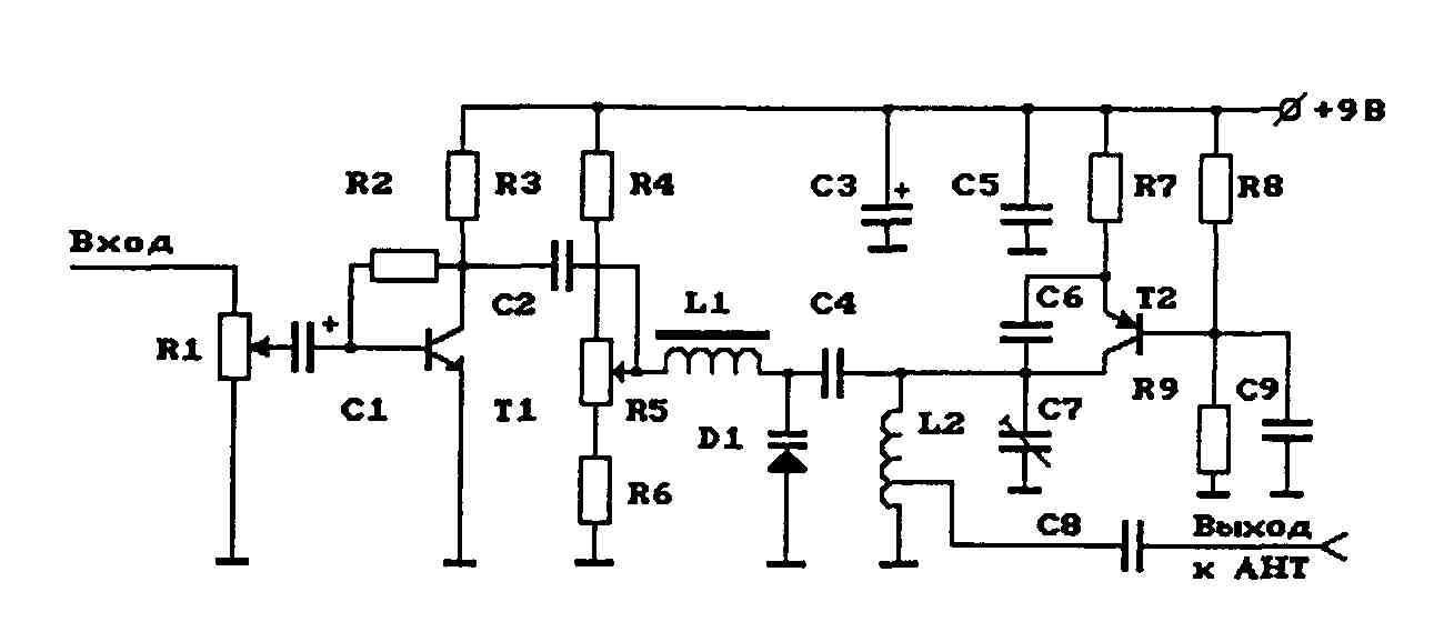 схема укв передатчика на 1 транзисторе